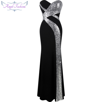 Long Prom Dress Angel-fashions Women's Strapless Criss-Cross Classic Mermaid Party Gown Black White 331 - discount item  20% OFF Special Occasion Dresses