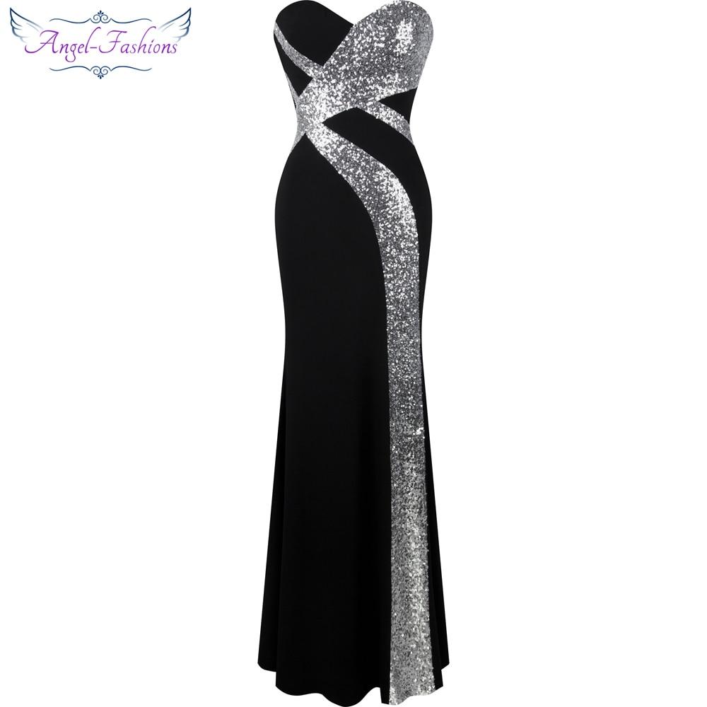Longue robe de bal Angel-mode femmes bretelles criss-cross classique sirène robe de soirée noir blanc 331