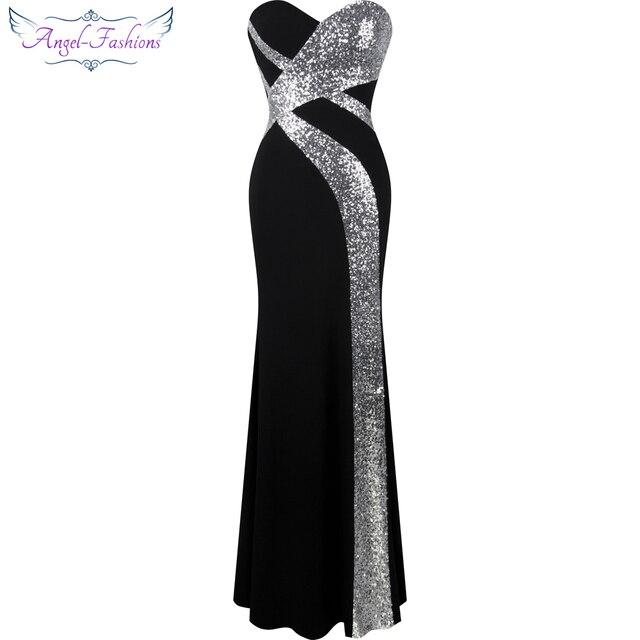 긴 댄스 파티 드레스 천사 패션 여성 strapless criss cross 클래식 인어 파티 드레스 블랙 화이트 331
