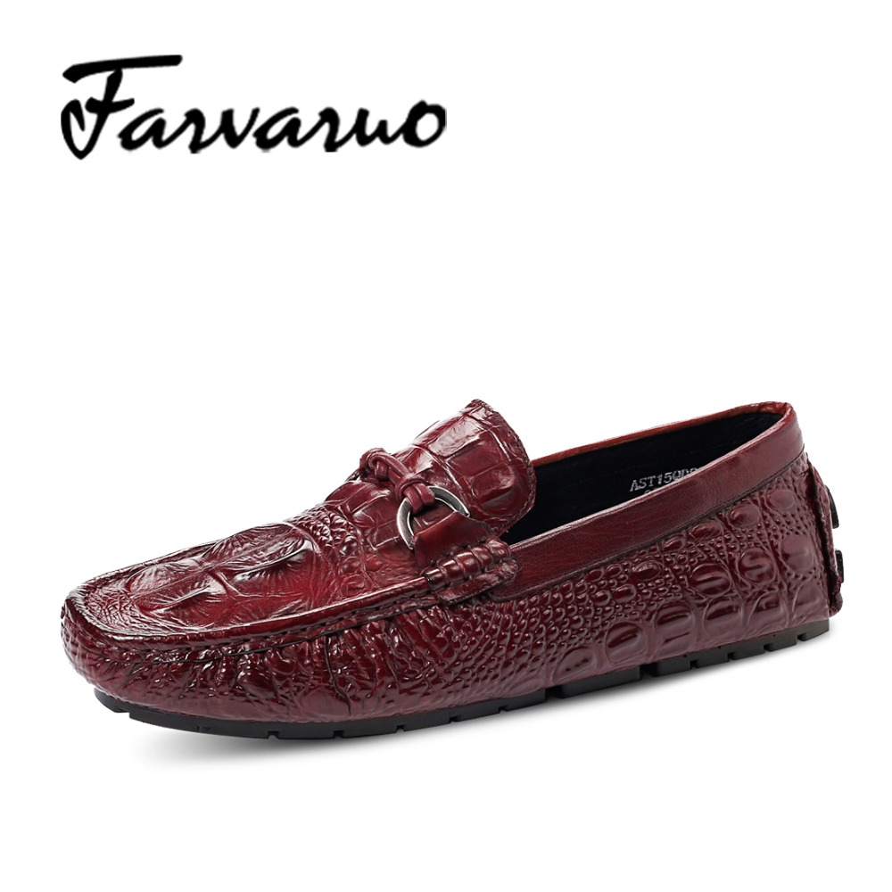 Farvarwo 2017 New Fashion Italian Men's Casual Loafers Moccasins Genuine Leather Flats Driving Shoes for Men Breathable Business farvarwo genuine leather alligator crocodile shoes luxury men brand new fashion driving shoes men s casual flats slip on loafers