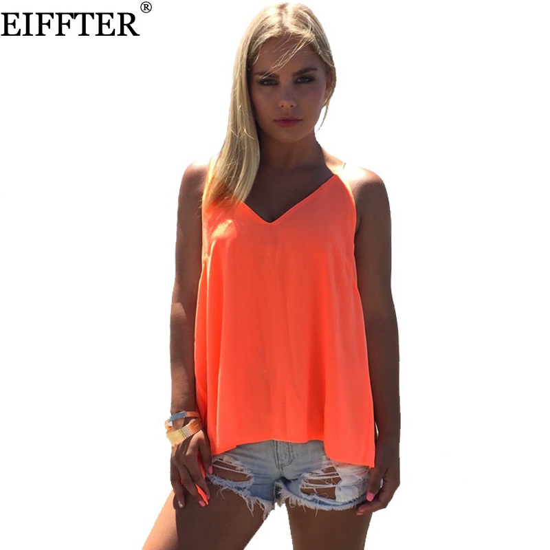 EIFFTER New Women Casual Sexy Backless Crisscross V Neck Tops Solid Women Summer Chiffon ...