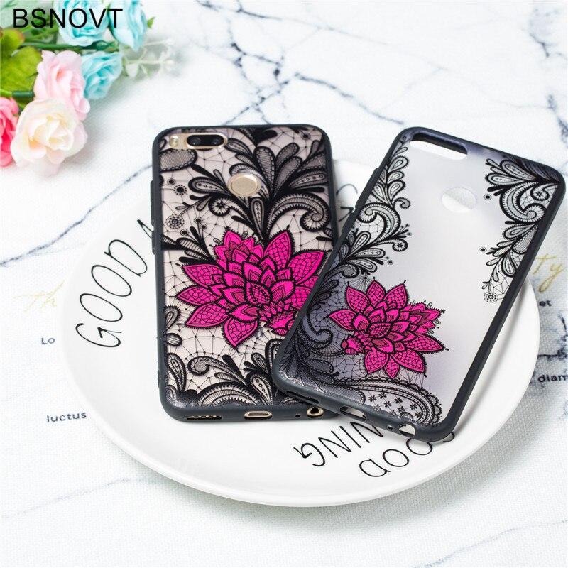 Xiaomi Mi A1 Case Xiaomi Mi A1 Cover TPU +PC Lace Rose Flower Case Xiaomi Mi A1 Phone Cover Funda Bumper Xiaomi Mi A1 Case Capa