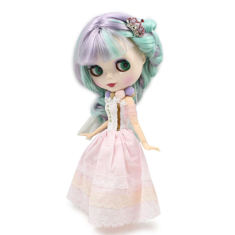 ICY Nude Factory Blyth Doll Series No BL1049 4006 Purple mix Mint hair white skin JOINT