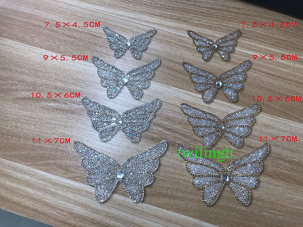 1 pieces Butterfly Patch Hot Fix Rhinestone Silver Gold Crystal Iron On For Newborn Baby Clothes Women Clothes Patches in Rhinestones from Home Garden