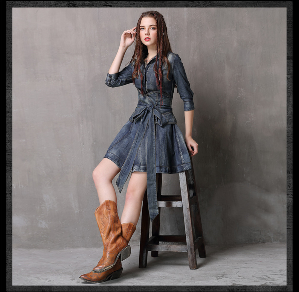 Vintage Summer Sashes Dress 2018 New Denim Three Quarter Sleeve  Dresses Turn-down Collar A-line Single Breasted Vestios (6)