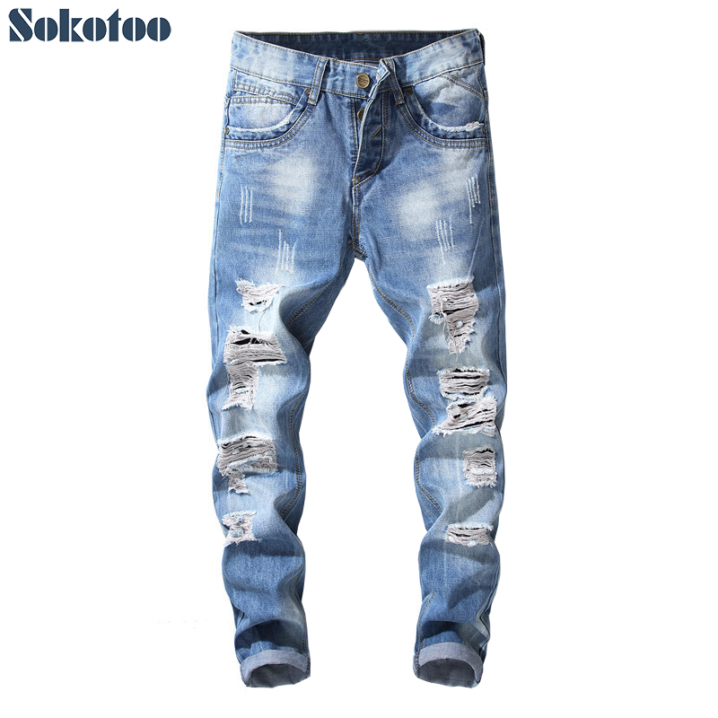 Sokotoo Mens buttons fly holes distressed denim ripped jeans Plus size light blue slim straight pants