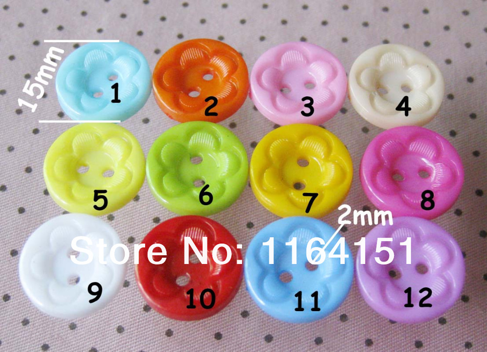 100pcs Mixed loose Fashion Plastic Button China Flower Shape 15mm Children Kids Accessories Buttons For Craft Garment Accessory