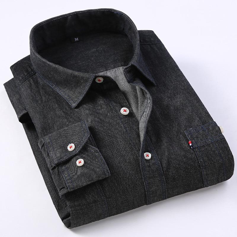 Casual Denim Shirt men Long Sleeve Cotton regular Fit denim Jeans shirt western Fashion Man's Clothes Easy Care 2020 Comfortable 4