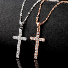 BOAKO Silver/Rose Gold Color Necklace Jewelry Women Wedding Fashion Cross CZ Crystal Zircon Stone Pendant Gift X7-M2