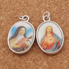 Jesus Saint Christianism Icon Oval Charm Beads 25x15.5mm 12pcs Antique Silver Pendants 2-Sides T1569