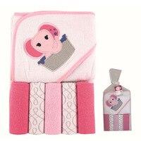 Moda estilo 6 unids algodón Toallas de baño y pañuelo patrón animal lindo bebé ducha Bañeras robe