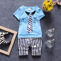 Boys Clothing Sets kids Tie Pattern Short Sleeve T-shirt + Shorts 2 Pics Suits New Summer Cute Children Stripe Clothing Sets