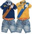 Meninos conjuntos de roupas de bebê esporte terno menino de vestuário (t-camisas + calças de brim curtas) roupas da moda crianças cowboy YAZ024