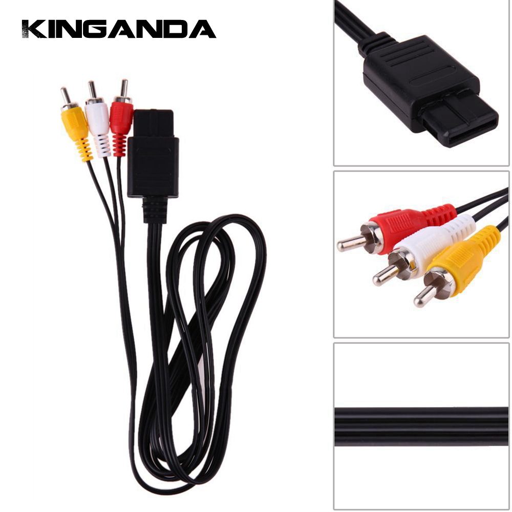 1.8m / 6FT AV TV Cable for Nintendo Nintend SNES NGC N64 Gamecube Game Comsole 3RCA Video Audio Adapter Lead Gaming Cable Cord