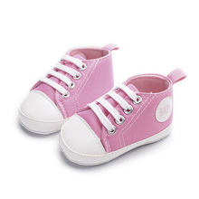 Classic Canvas Baby Shoes Side Alphabet Boys and Girls First Walkers 0-12M