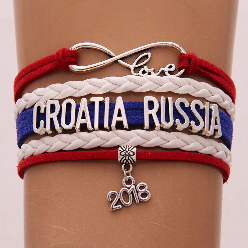 Retro Style Infinity Love Charm CROATIA RUSSIA Handmade Braided Bracelets&Bangles Flag Gift For Football Fans