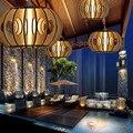 النمط الصيني الخيزران النسيج droplight اليابانية التايلاندية قاعة مطعم الدراسة الرعوية خشبية الخيزران الخشب مصباح droplight-في أضواء قلادة من مصابيح وإضاءات على