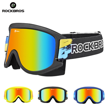 ROCKBROS Ski Goggles Snow Double-Layer Snowboarding Glasses Anti-Fog Skiing Goggles TPU Frame UV400 Large View Men Women Glasses