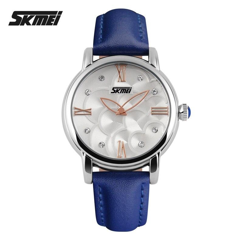 SKMEI Fashion Watches Women Leather Strap Quartz Watch Relogio Feminino Brand Women Dress Wristwatch Relojes Mujer