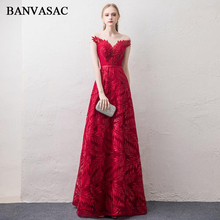 BANVASAC 2018 Illusion O Neck Sequined Sash A Line Long Evening Dresses Lace Appliques Short Cap Sleeve Party Prom Gowns