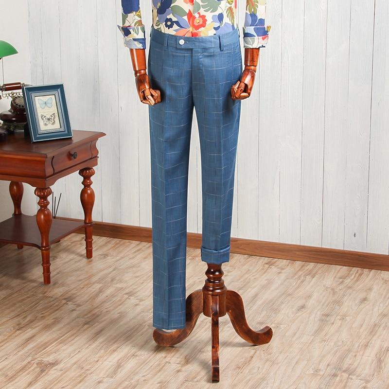 Men s Blue Fashion Vintage Thick Western style Slim Suit Pants Mens Long Trousers For Wedding