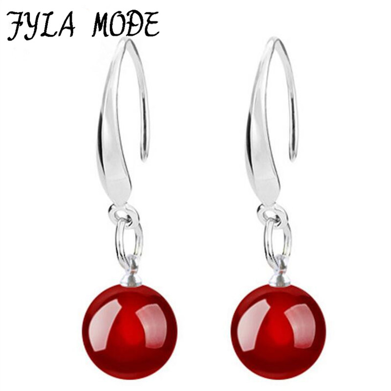 Women Jewelry Earring 8mm 9m Bright Red Black Round Ball Natural Stone Dangle 925 Sterling Silver Hook Earring YH063