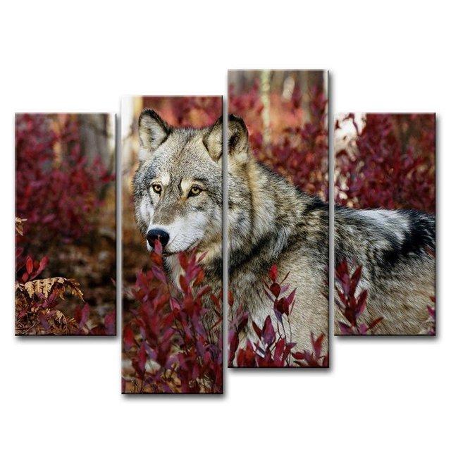 4 pezzo di arte della parete pittura lupo nella foresta for Oggettistica per la casa moderna