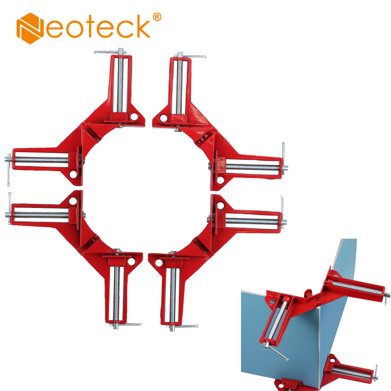 Neoteck 4 PCS High Quality 90°Degree Right Angle Picture Frame Corner Clamp Holder Aluminium Alloy Clamps Photo Clip Tool