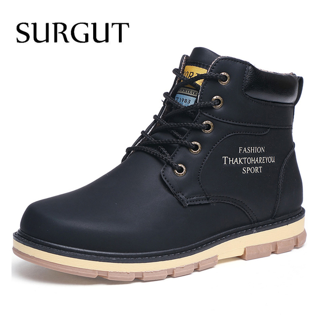 SURGUT Marki Gorący Wątek Utrzymać Ciepłe Zimowe Buty Męskie Wysokie jakość pu Leather Odporny Na Zużycie Obuwie Pracy Fahsion Mężczyzn buty