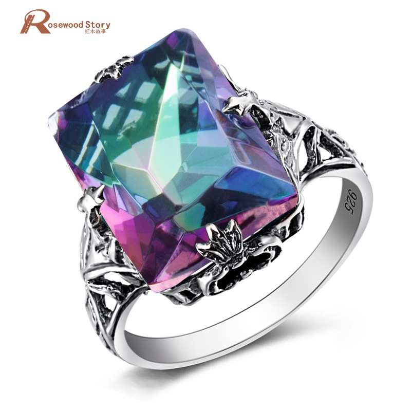 Genuine Rainbow Fire Mystic Lab Topaz Ring Square Concave Cut Solid 925 Sterling Silver Ring Vintage Fine Jewelry For Women Gift