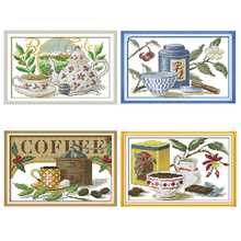 Joy Sunday, Tea, cross stitch embroidery set, printing cloth kit, needlework, fashion pattern kit