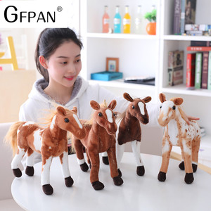 Image 5 - 1pc 60 30cm Simulation Horse 5 Styles  Stuffed Animal Plush Dolls High Quality Classic Toys For Children Gift