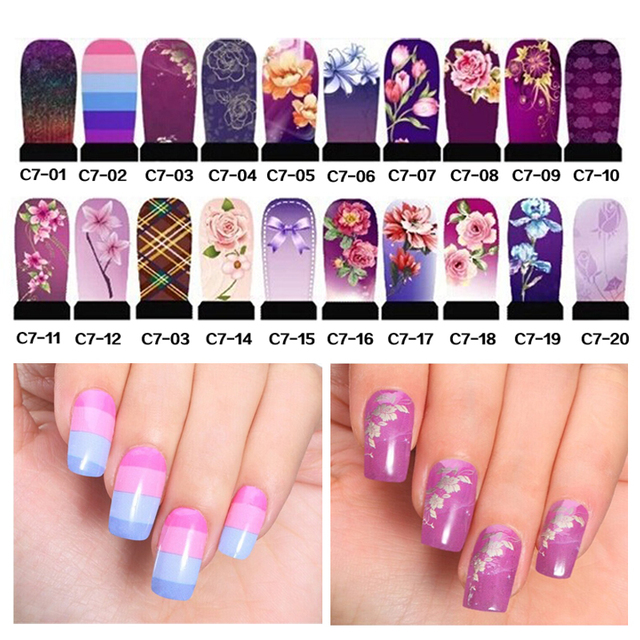 5pcsset Hot Water Nail Stickers Colorful Design Transfer Nail