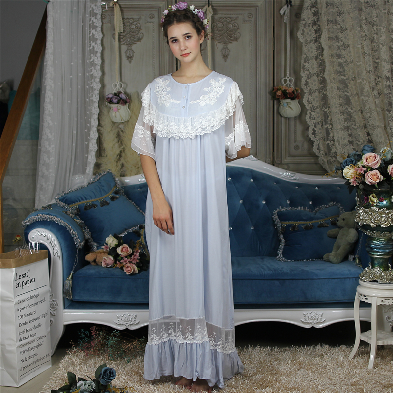 Broidery Chic Vintage Princess   Nightgowns     Sleepshirts   Victorian Short Sleeve Home Wear Night Dress Plus Size Women Autumn NEW