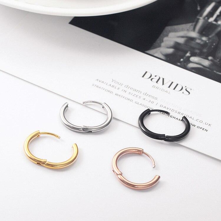 1Piece Stainless Steel Round Hoop Earrings Huggie Simple Style 2.5mm Circle Hoop Earring for Women Man Punk Piercing Jewelry