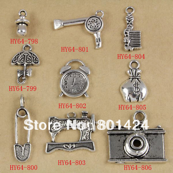 64 838 Nipple Hairdrier Comb Umbrella Clock Purse Brooch Sewing Machine  Camera Zinc Alloy Charm