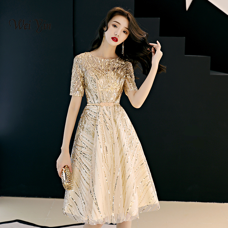 weiyin 2019 Hot Sales Short Sleeve Champagne Fashion Designer Lace Elegant Cocktail Gowns Cocktail Dress WY873