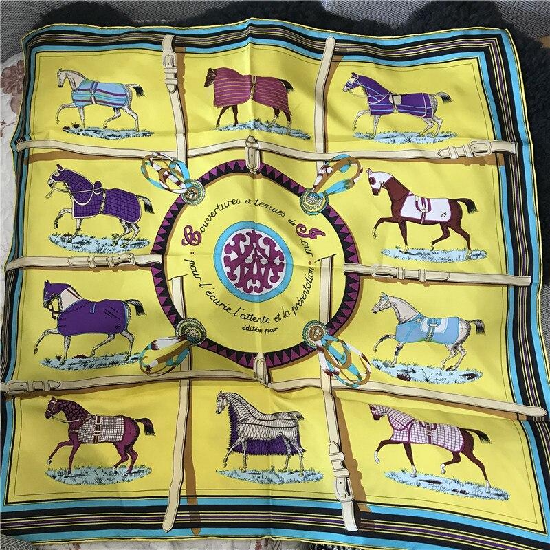 Horse Scarf Women 90*90cm 14m/m Pure Silk Scarf Handmade Hemming Neck Head Scarf Lady Shawl Spring Wrap Luxury Brand Design