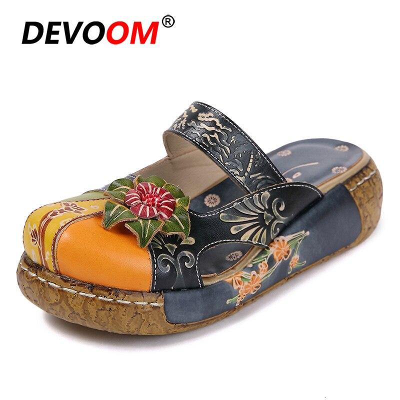 Sandales confort rétro Sandalias Mujer Planas plateforme compensées femmes chaussures compensées pantoufles femmes été vert véritable cuir Mules