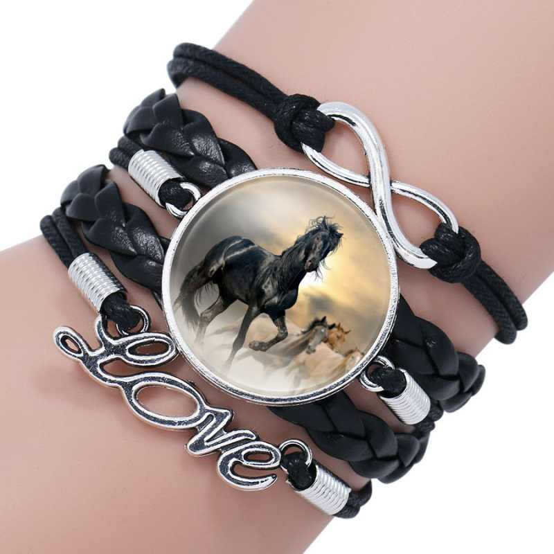 Fashion Horse Leather Infinity Wrap Bracelet Bangle For Women Handmade Glass Cabochon Horse Jewelry Best Gift