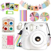 Fujifilm Instax Mini 9 Mini 8 kamera şeffaf tam koruyucu kılıf çanta kılıfı + 64 cepler albümü + 10 in 1 aksesuar seti