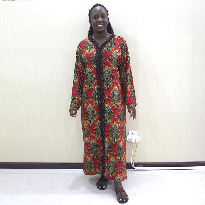 Muslim Women Classic Dresses Lace edge Novel Pattern Clothing  Dubai Africa Kaftan Loose Abaya Robe