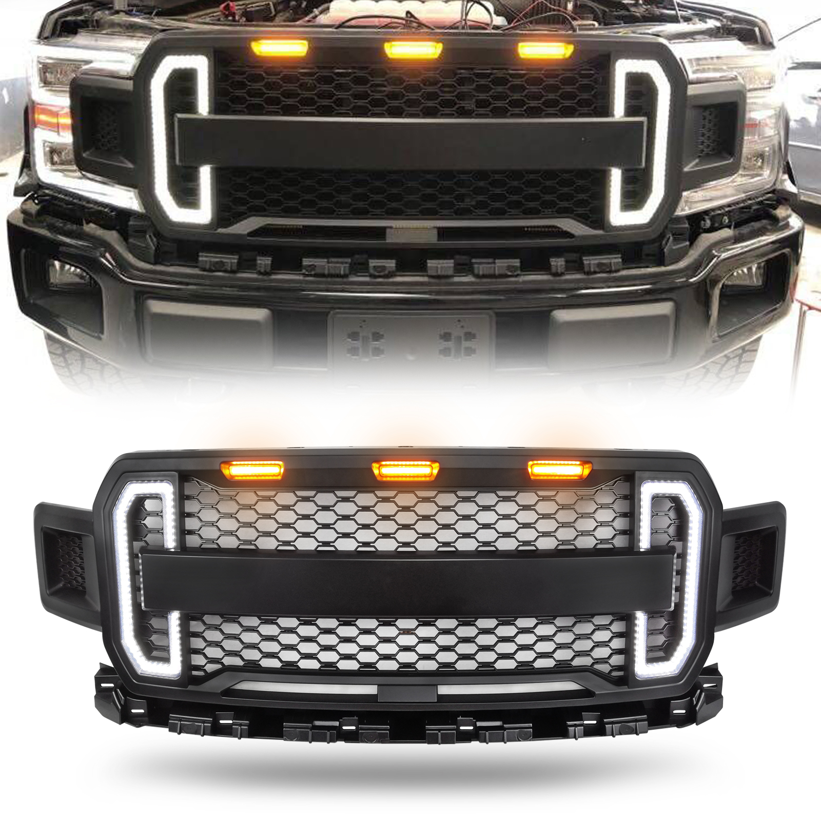 New Style Raptor Style Grill Grille For 2018 2019 Ford F150 ABS  with Amber Lights and Tunning LED Lights US Stock|Racing Grills| |  - title=