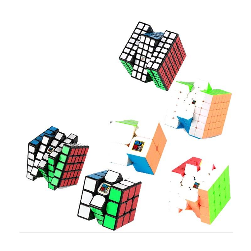 MoYu 6 pièces/ensemble 2x2x2 3x3x3 4x4x4 de Vitesse En Plastique Puzzle Cube 5x5x5 6x6x6 7x7x7 Torsion Cerveau D'essai apprentissage éducatif Magico Cubo