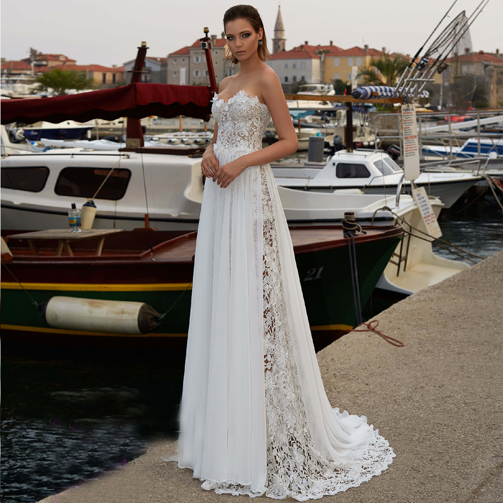 LORIE Boho Wedding Dress 2019 Strapless Lace Sleeveless Beach Bride Dress Detachable Chiffon Wedding Gown Floor Length