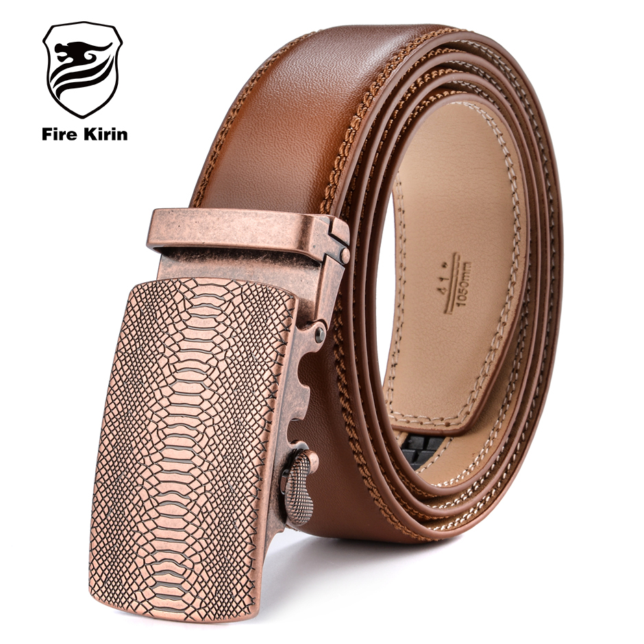 USA Mens Brown Genuine Leather Belts Gold Automatic Buckles Dress Straps Ratchet