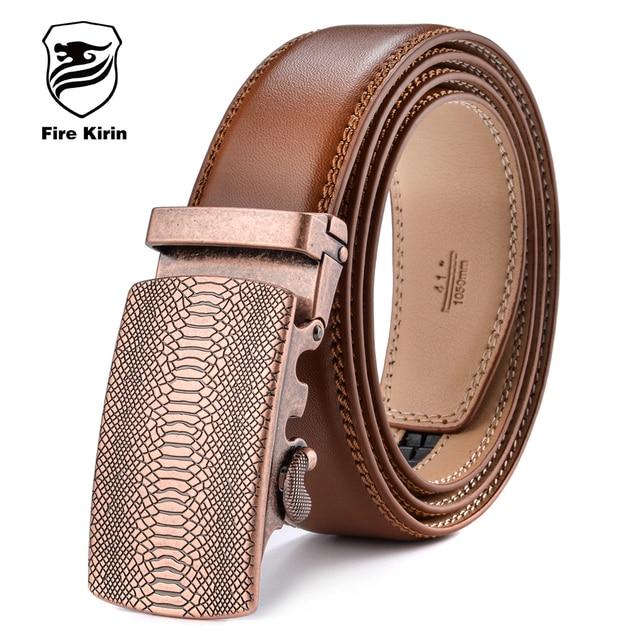 FIRE KIRIN Mens Belt Luxury Brand Genuine Leather Ratchet Belts For Men Automatic Buckle Brown Cowhide Strap Formal Cinto B51