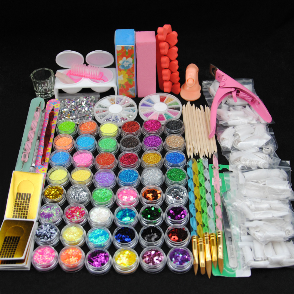 цены Acrylic Powder Manicure Nail Art Kit 48 Pieces Glitter for Nails DIY Acrylic Rhinestone Glitter Powder File Nail Salon Sets Kits