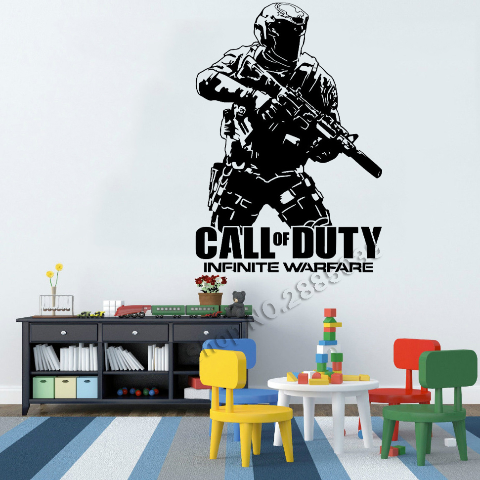 Removable Vinyl Wall Decals Army Call Of Duty Infinite Warfare Warfighter Gamer Stickers Art Wall Decor House Posters Hot LC552
