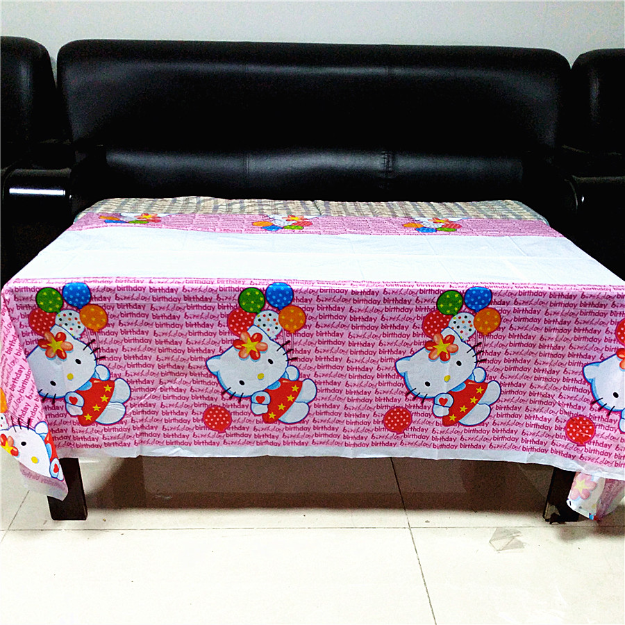 108x180cm Hello Kitty Party Supplies Disposable Tablecloth kids Birthday Decoration Baby Shower For Kids Girls party favors